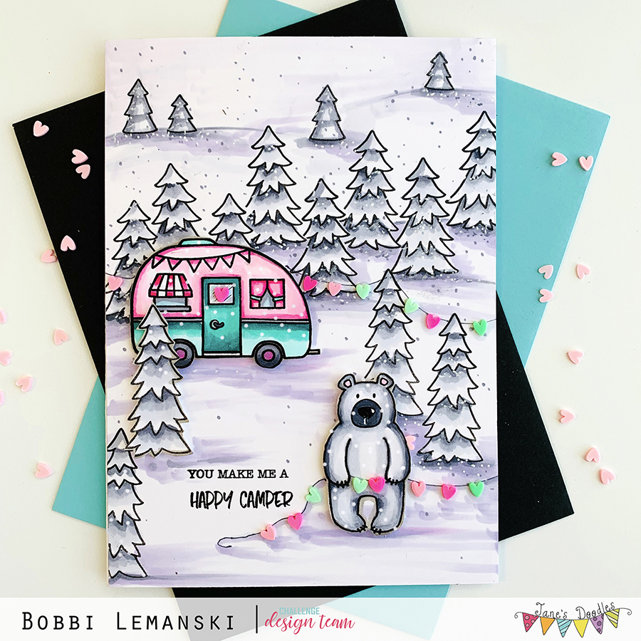 Jane's Doodles Winter Scene Card Challenge