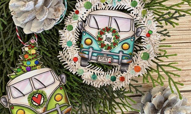 Retro Christmas Tags With Vintage Van