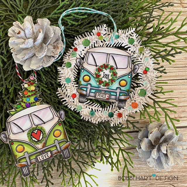Retro Christmas Tags With Vintage Van